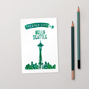 Hello Seattle - Emerald City Standard Postcard