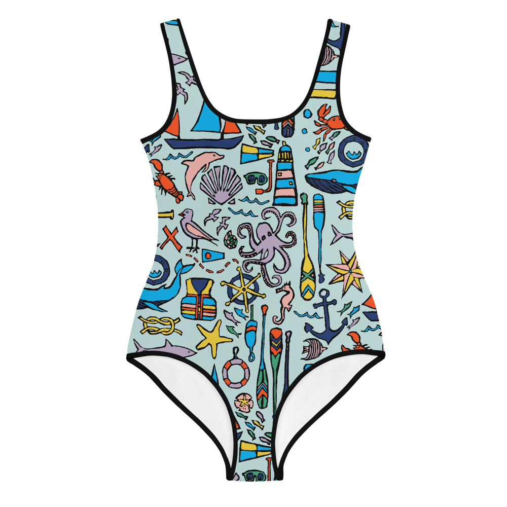 Nautical Drifts Youth Swimsuit