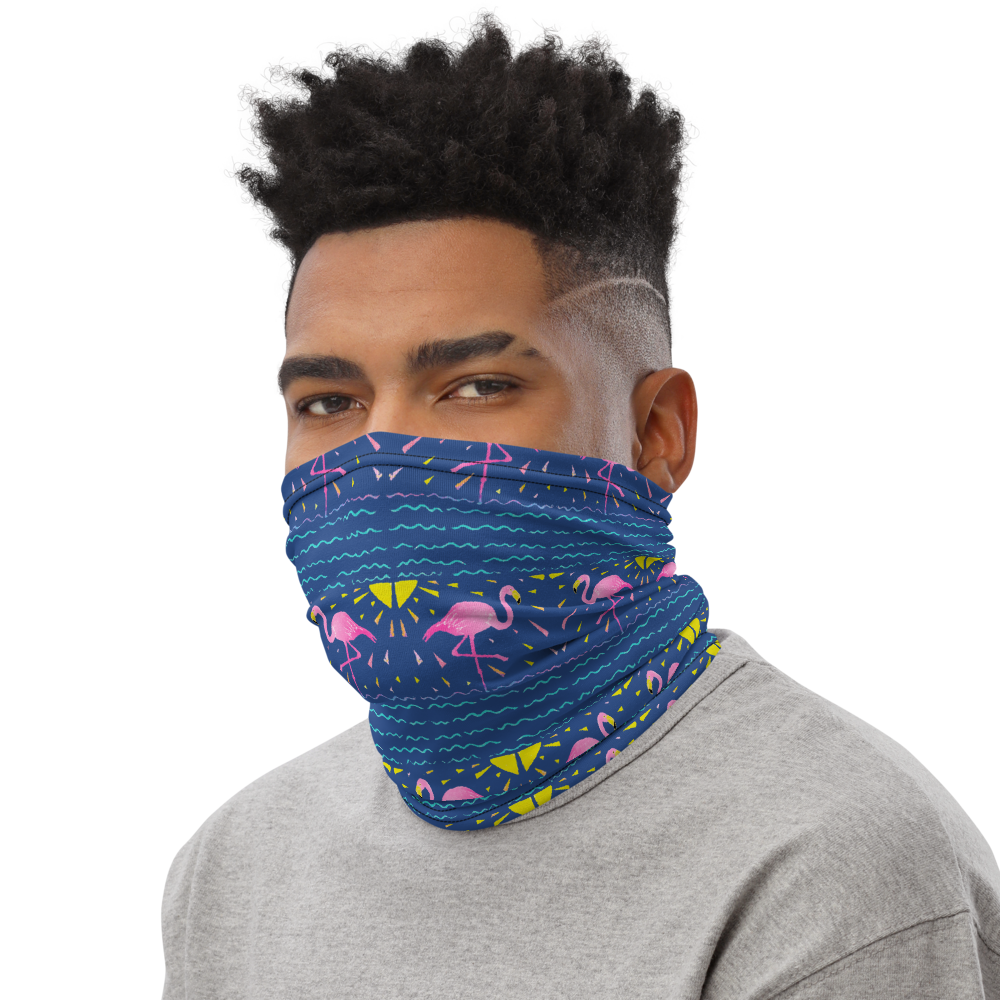 Moonlight Flamingo Rays Neck Gaiter