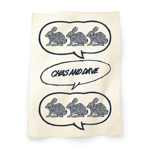 NATURAL RABBIT CHAS & DAVE TEA TOWEL