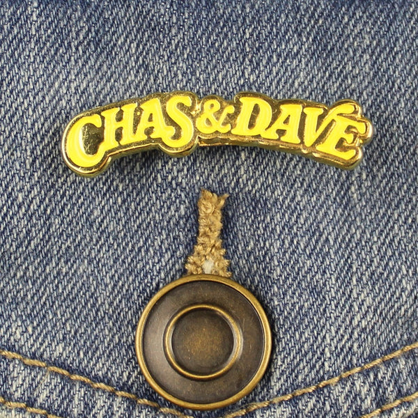 YELLOW/GOLD CHAS & DAVE ENAMEL PIN
