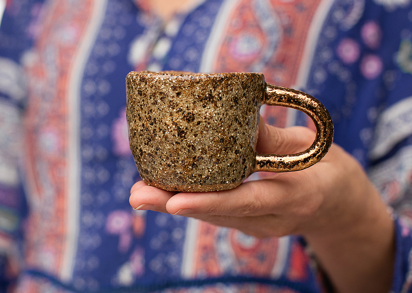 STAR DUST ESPRESSO CUP - HAND BUILT - COPPER HANDLE - CLEAR GLAZE - SPECKLED CLAY