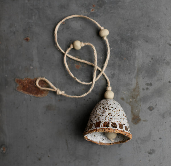 HAND PINCHED CERAMIC BELL - COPPER DASH - SPECKLED CLAY - WHITE GLAZE