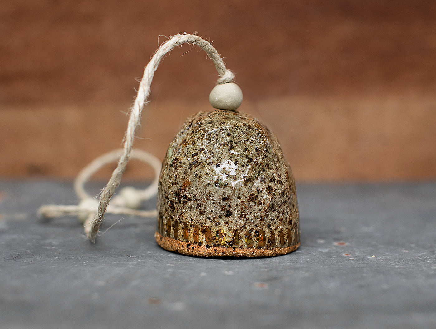 HAND PINCHED CERAMIC BELL - COPPER DASH - SPECKLED CLAY - CLEAR GLAZE