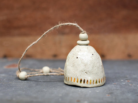 HAND PINCHED CERAMIC BELL - GOLD DASH - SANDY CLAY - CLEAR GLAZE