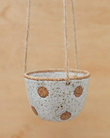 SPECKLED POLKA DOT HANGING PLANTER