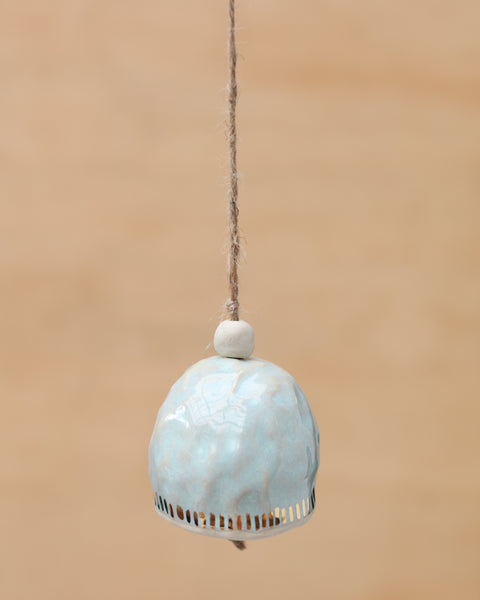 HAND PINCHED CERAMIC BELL - GOLD DASH  - MINTY HAZE GLAZE