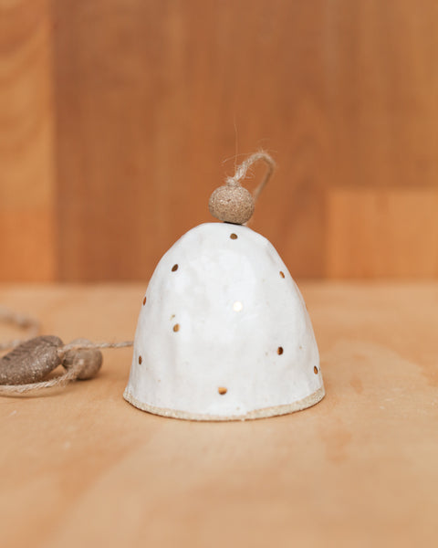 HAND PINCHED CERAMIC BELL - GOLD POLKA DOT - SANDY CLAY - WHITE GLAZE