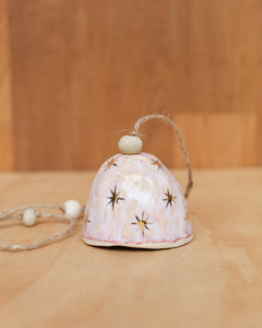 HAND PINCHED CERAMIC BELL - GOLD STAR  - OPAL PINK GLAZE