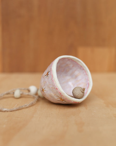 GOLD STAR BELL  - WHITE CLAY - OPAL PINK GLAZE