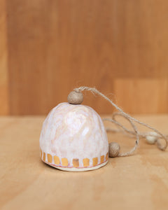 HAND PINCHED CERAMIC BELL - WIDE GOLD DASH  - OPAL PINK GLAZE