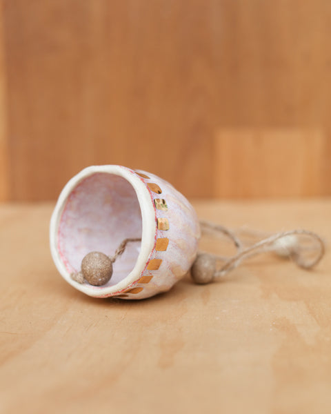 HAND PINCHED CERAMIC BELL - GOLD DASH  - OPAL PINK GLAZE