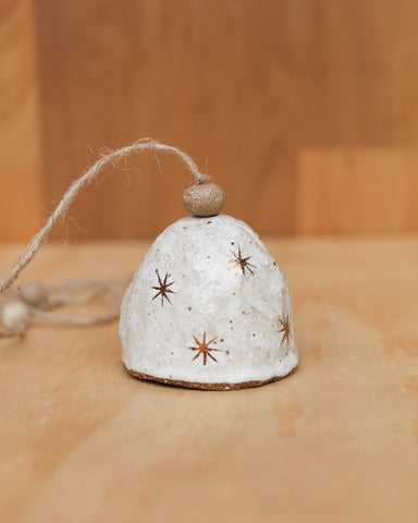 HAND PINCHED CERAMIC BELL - COPPER STAR  - SANDY CLAY - WHITE GLAZE