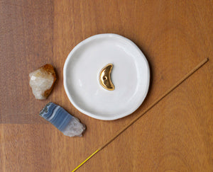 GOLD MOON INCENSE HOLDER - WHITE GLAZE - WHITE CLAY