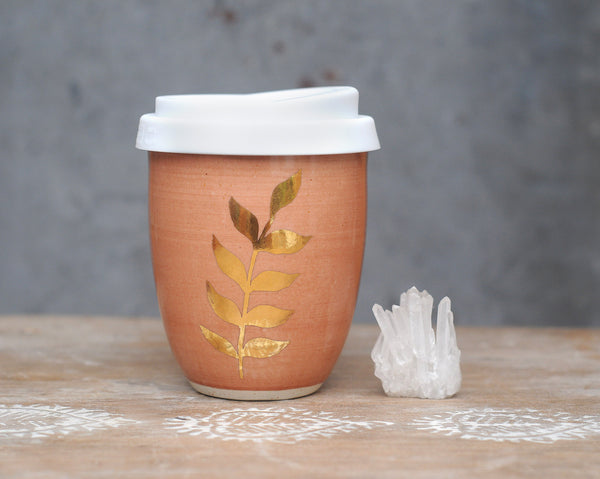 GOLD FERN EARTH CUP - CORAL GLAZE