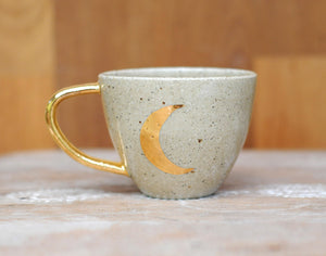 CRESCENT MOON MUG - SANDY CLAY - GOLD HANDLE