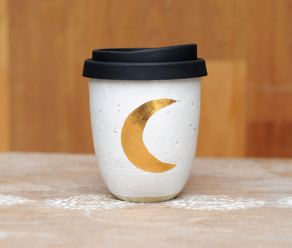 CRESCENT MOON EARTH CUP - WHITE GLAZE