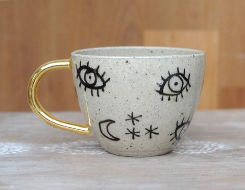 STARRY EYED CUP - SANDY CLAY - GOLD HANDLE