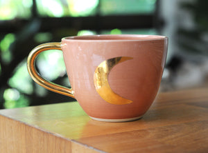 CRESCENT MOON MUG - CORAL PINK GLAZE - GOLD HANDLE
