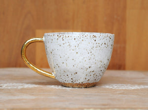 GALAXY MUG - SPECKLED CLAY - WHITE GLAZE - GOLD HANDLE