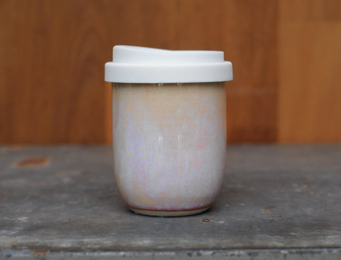 8-10oz AURORA EARTH CUP - PALE PINK/PEACH OPAL GLAZE