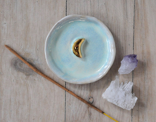 GOLD MOON INCENSE HOLDER - PASTEL GREEN OPAL GLAZE