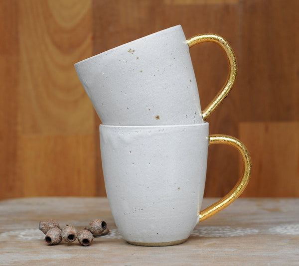 MOON GLOW MUG - WHEEL THROWN - SANDY CLAY - GOLD HANDLE