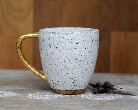 GALAXY MUG - SPECKLED CLAY - GOLD HANDLE