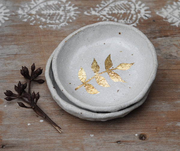GOLD LEAF BOWL - SANDY CLAY