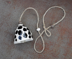 HAND PINCHED CERAMIC BELL - WHITE CLAY - BLACK CHEETAH SPOTS