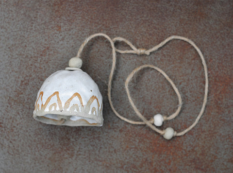 HAND PINCHED CERAMIC BELL - SANDY CLAY - RAINBOW - WHITE GLAZE