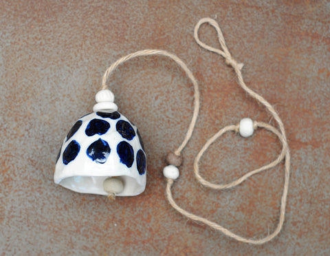 HAND PINCHED CERAMIC BELL - WHITE CLAY - DARK BLUE CHEETAH SPOTS