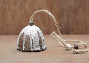 HAND PINCHED CERAMIC BELL - CHOCOLATE CLAY - WHITE DRIBBLE GLAZE