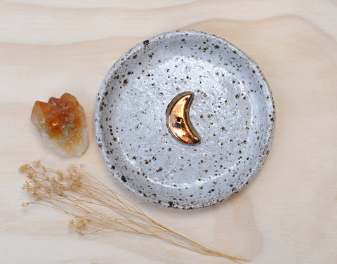 COPPER MOON INCENSE HOLDER - WHITE GLAZE - SPECKLED CLAY