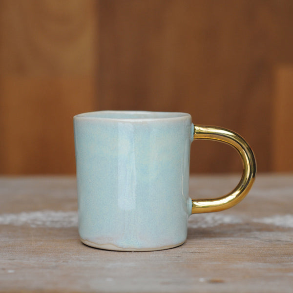 AURORA ESPRESSO CUP - MINTY HAZE GLAZE - WHITE CLAY - GOLD HANDLE