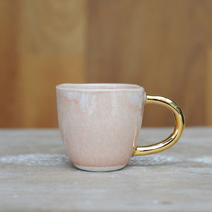 AURORA ESPRESSO CUP - PINK OPAL GLAZE - WHITE CLAY - GOLD HANDLE