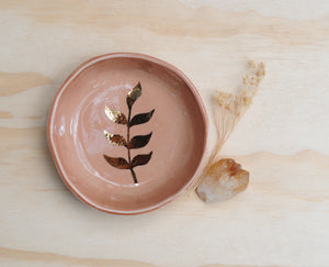 GOLD LEAF BOWL - CORAL GLAZE