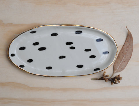 INTERSTELLAR PLATE - OVAL - CLEAR GLAZE