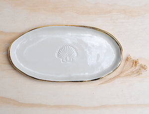 SCALLOP SHELL PLATE - OVAL - CLEAR GLAZE