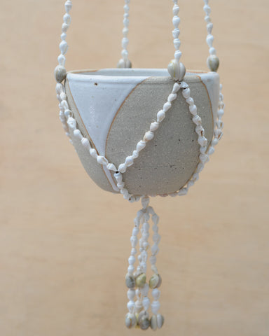 SEA SHELL HANGING PLANTER - DRIBBLE BOWL - SANDY CLAY