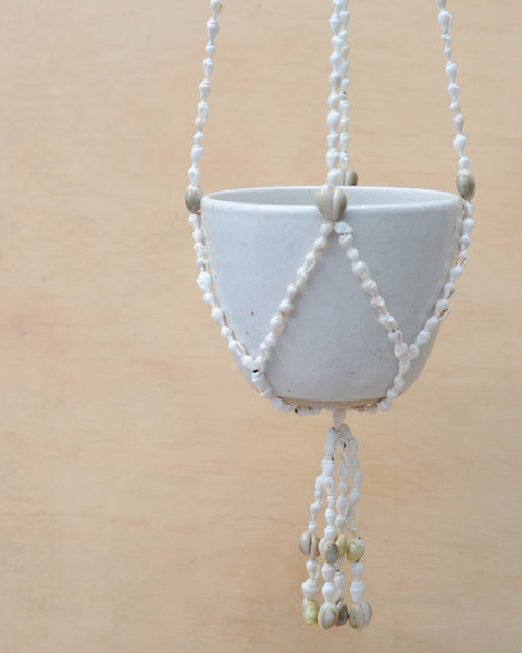 SEA SHELL HANGING PLANTER - WHITE BOWL - SANDY CLAY