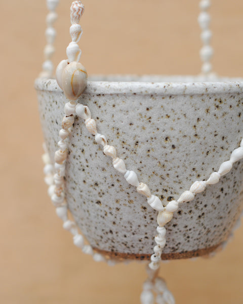 SEA SHELL HANGING PLANTER - SPECKLED BOWL