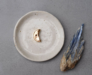GOLD MOON INCENSE HOLDER - WHITE GLAZE - SANDY CLAY