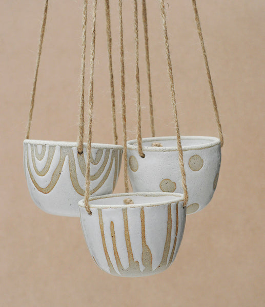 POLKA DOT HANGING PLANTER - SANDY CLAY