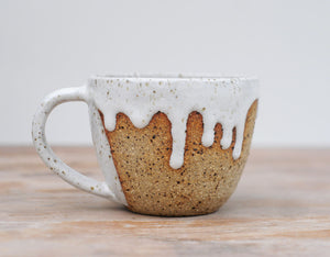 SPECKLED DRIBBLE MUG - SPECKLED CLAY - WHITE GLAZE