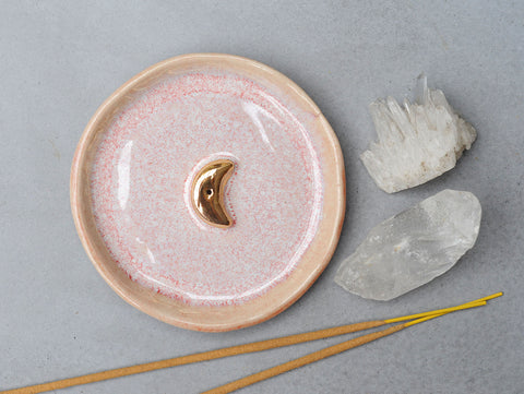 GOLD MOON INCENSE HOLDER - PINK OPAL GLAZE