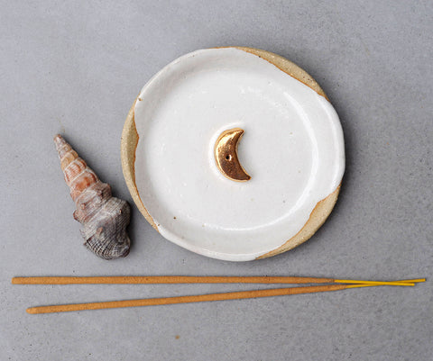 GOLD MOON INCENSE HOLDER - WHITE DRIBBLE GLAZE - SANDY CLAY