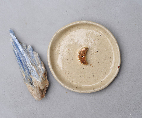 GOLD MOON INCENSE HOLDER - CLEAR GLAZE - SANDY CLAY
