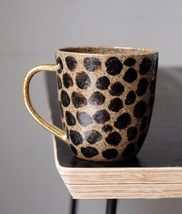 CHEETAH MUG TALL - GOLD HANDLE - CHOCOLATE CLAY - CLEAR GLAZE
