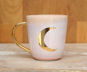 CRESCENT MOON MUG - GOLD - PINK OPAL GLAZE - WHITE CLAY